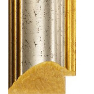 Crackled Silver, Gold outer edges Picture Moulding 50mm