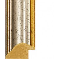 Crackled Silver, Gold outer edges Picture Moulding 33mm