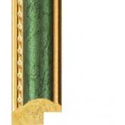 Green, Gold outer edges Picture Moulding 21mm