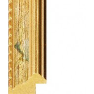 Green floral, Gold outer edges Picture Moulding 24mm