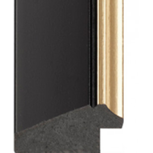 Matt black - brushed gold lip Picture Moulding 50mm