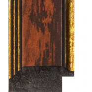 Dark Brown wash, Gold outer edges Picture Moulding 32mm