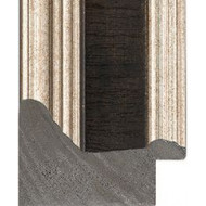 Distressed Dark Brown, Silver outer edges Picture Moulding 53mm