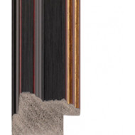 Textured black, gold lip Picture Moulding 32mm