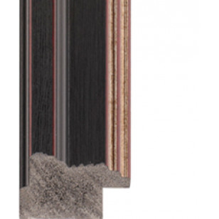 Textured black, silver lip Picture Moulding 32mm